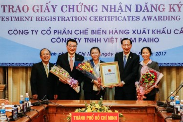 Certificate of investment for Cau Tre Export Processing Joint Stock Company in Hiep Phuoc Industrial Park